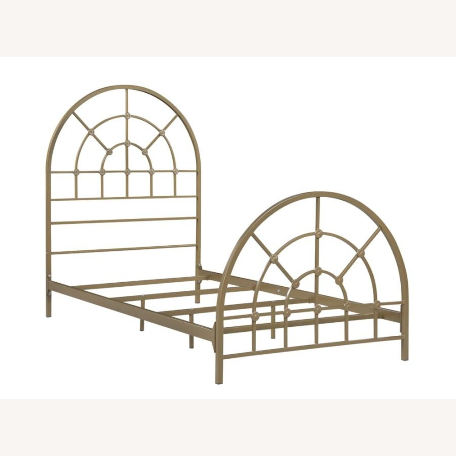 Twin Size Bed In Gold Powder Finish - image-0