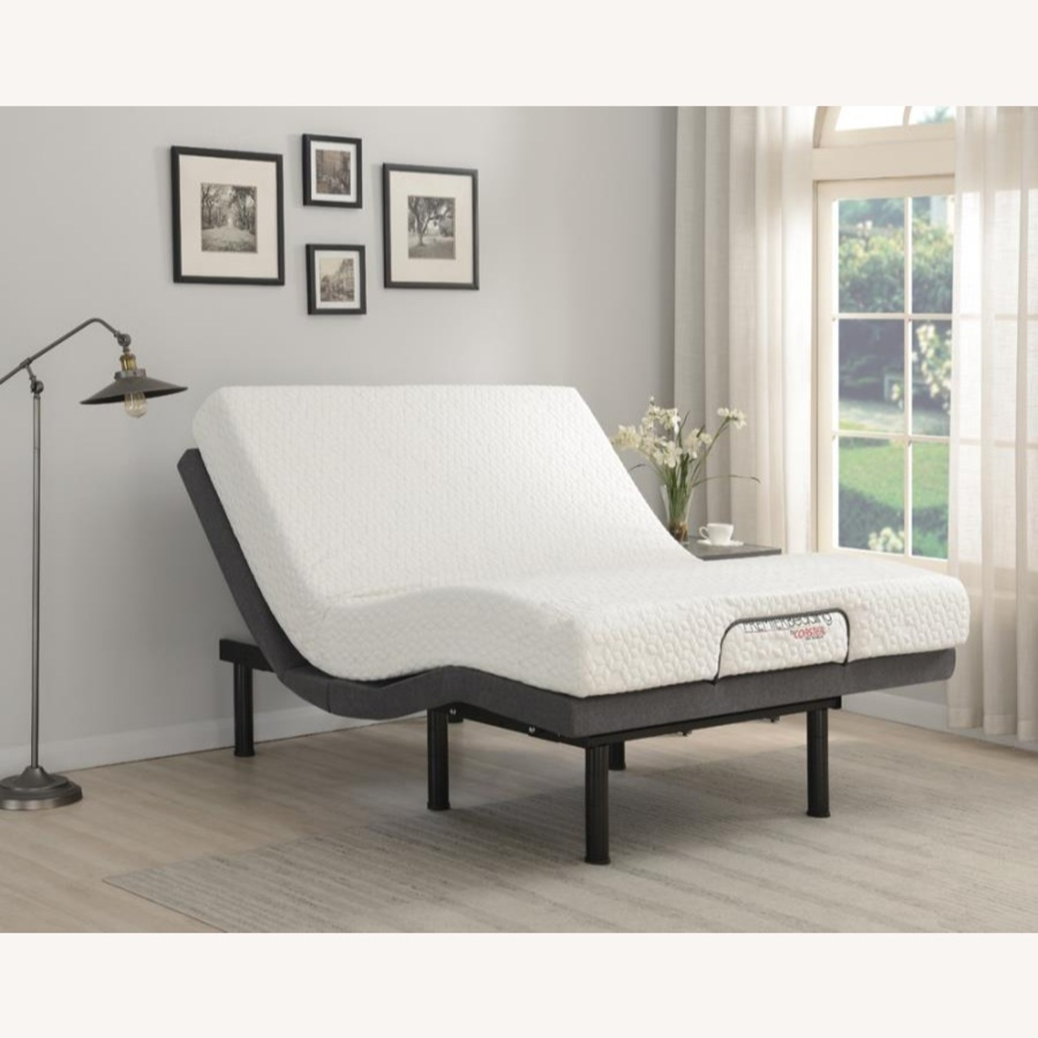 Adjustable Queen Bed Base In Grey Fabric - image-9