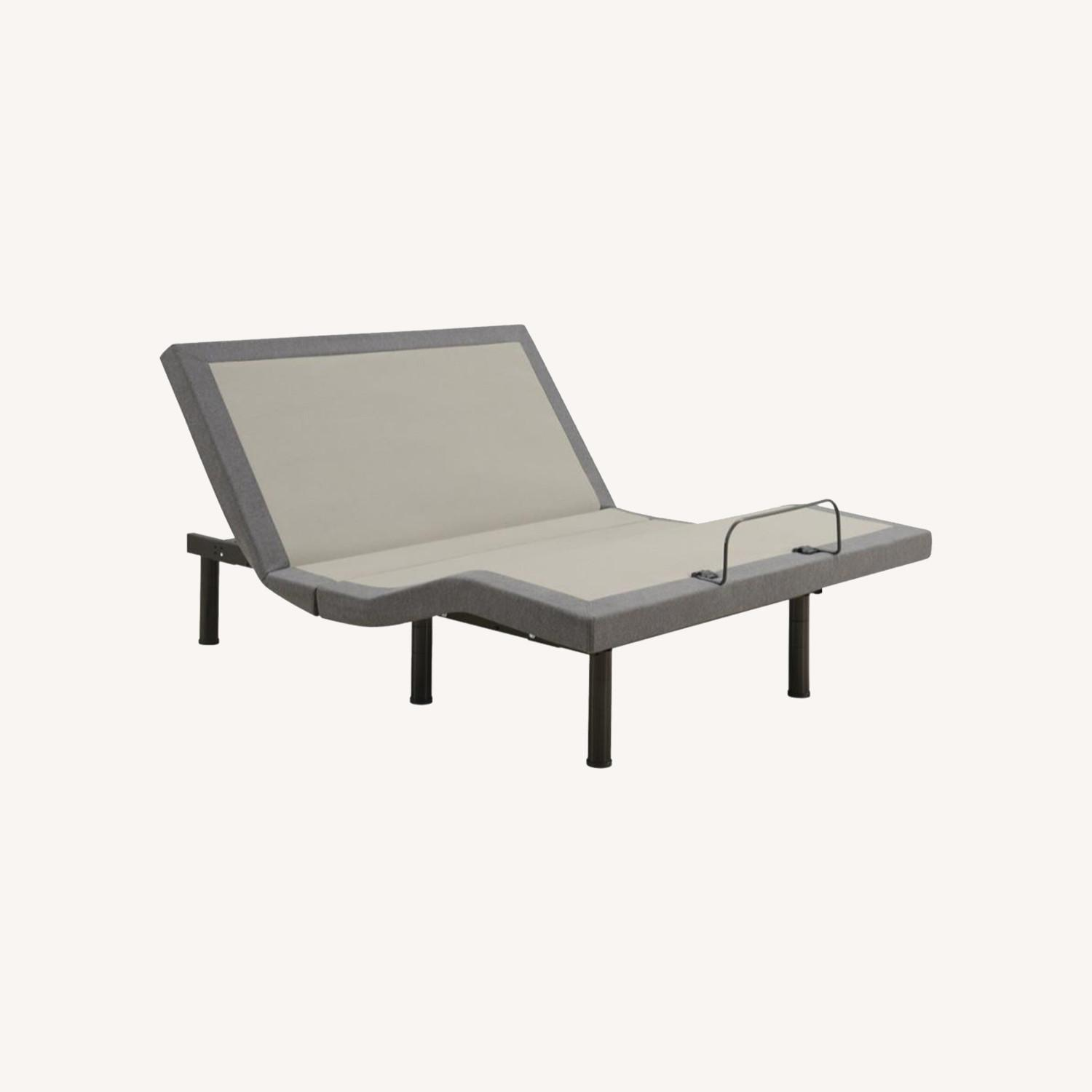 Adjustable King Bed Base In Grey Fabric - image-8