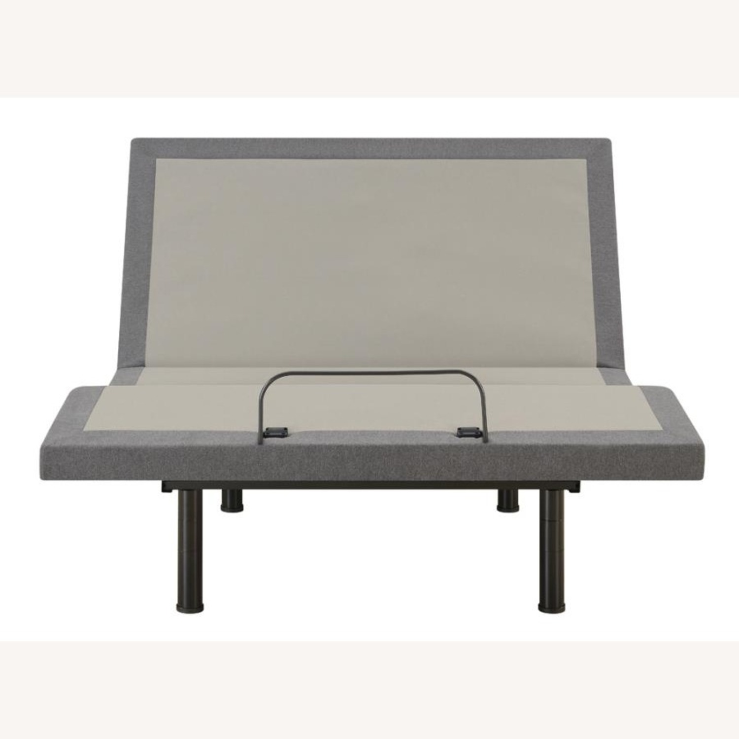 Adjustable King Bed Base In Grey Fabric - image-1