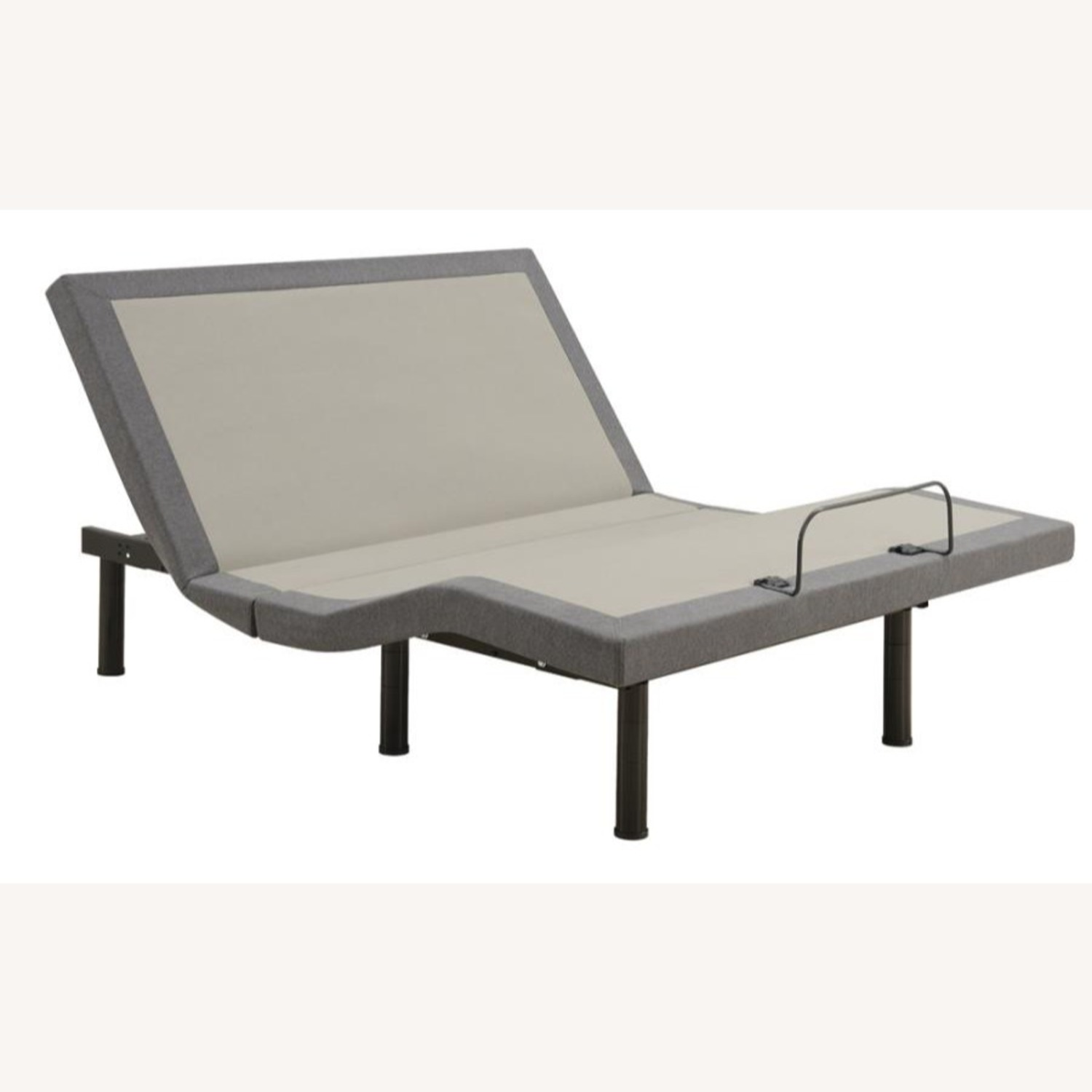 Adjustable King Bed Base In Grey Fabric - image-0