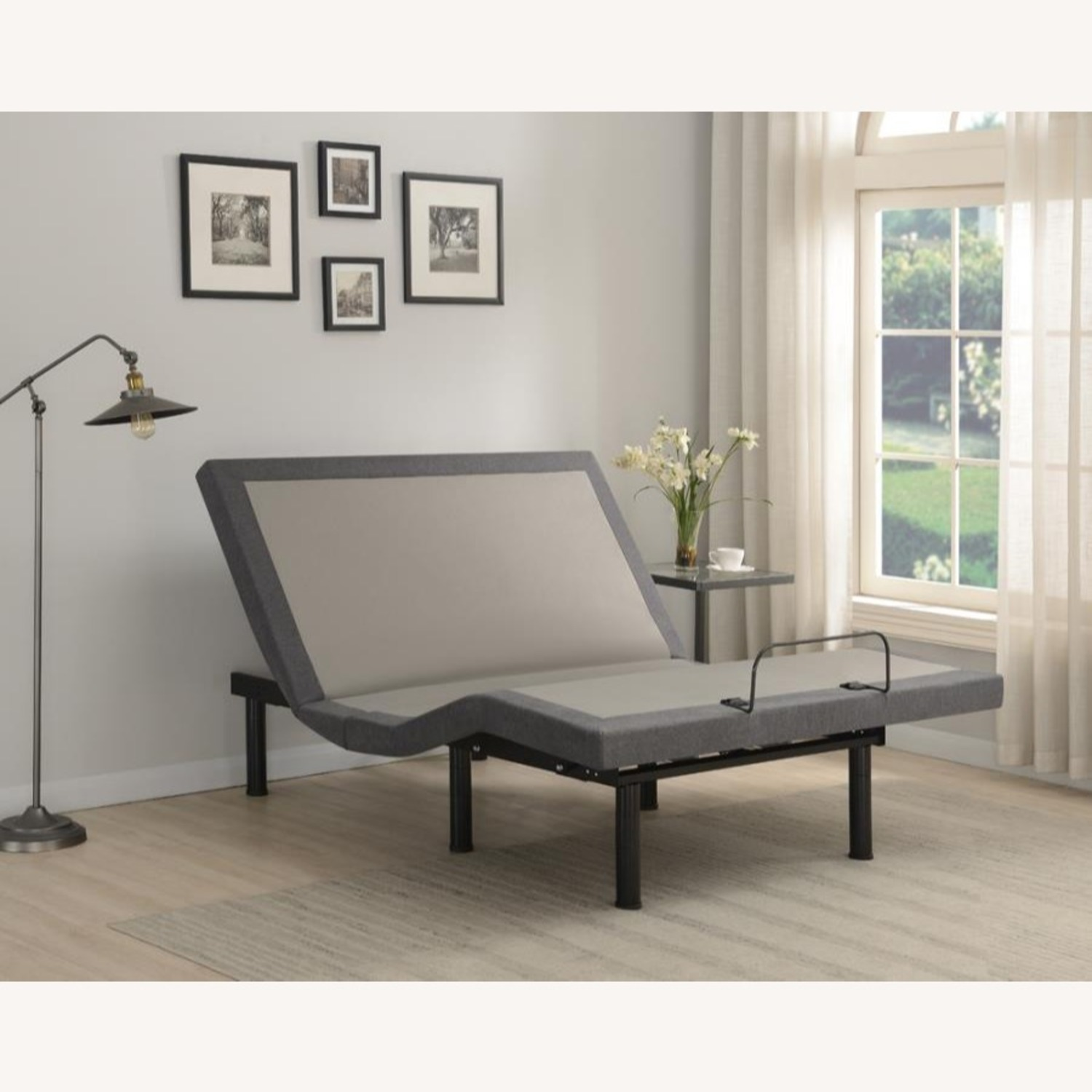 Adjustable King Bed Base In Grey Fabric - image-6