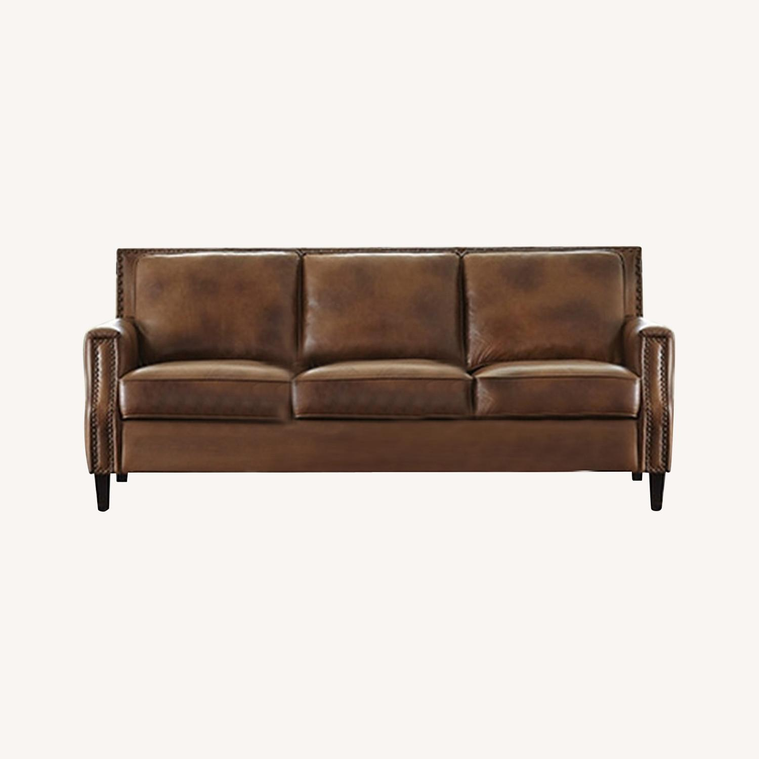 Sofa In Brown Leather Upholstery - image-3