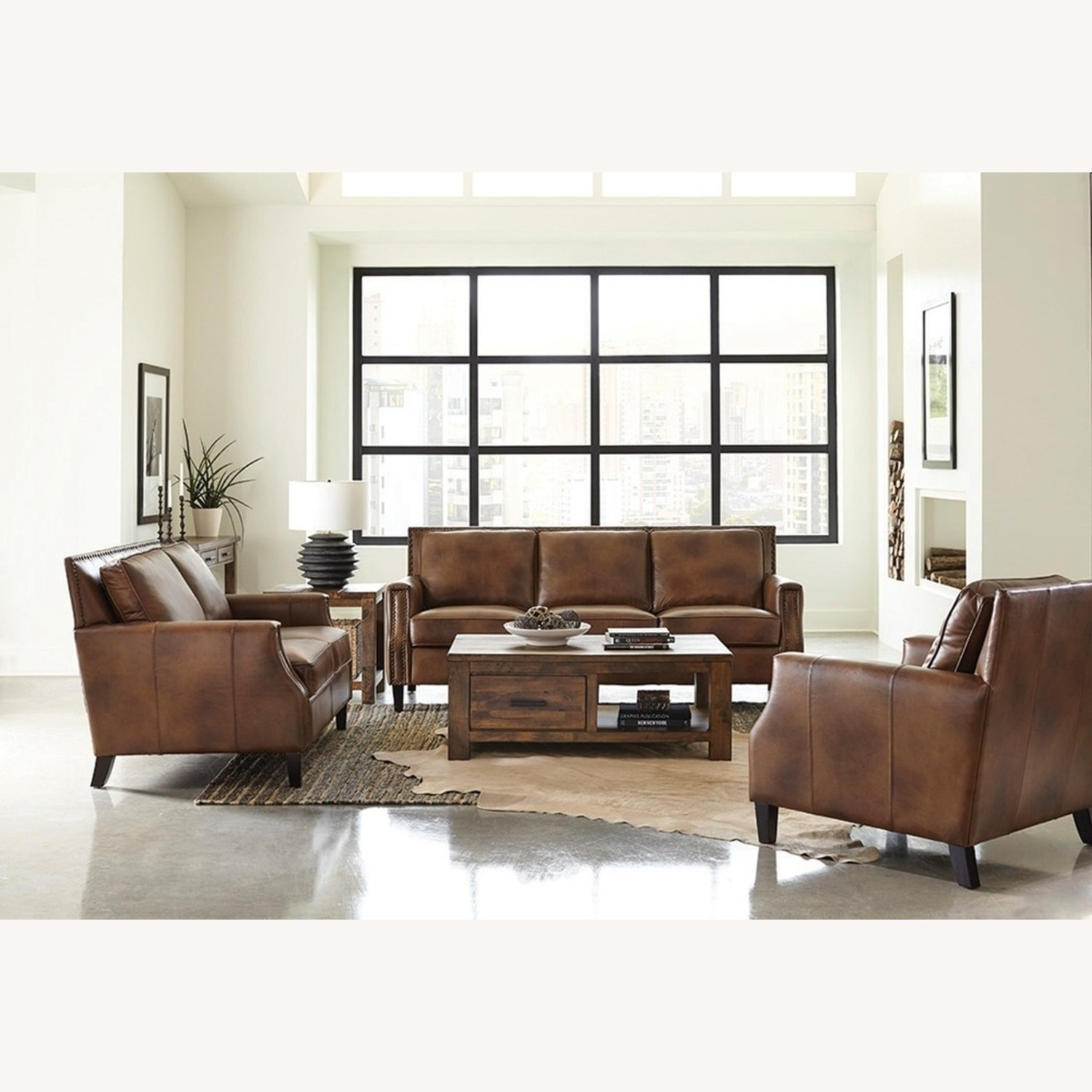Sofa In Brown Leather Upholstery - image-2