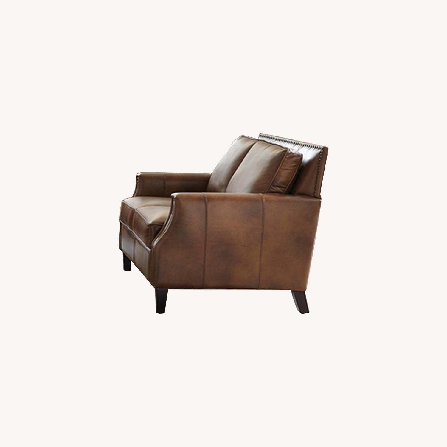 Loveseat In Brown Sugar Leather Upholstery - image-3