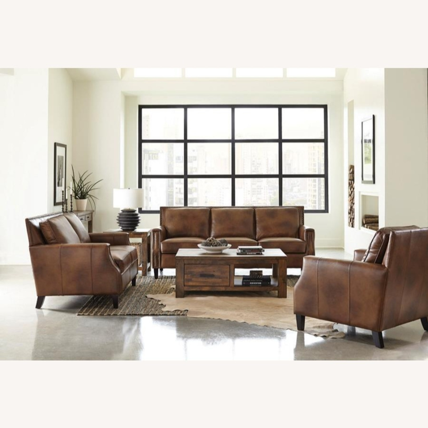 Loveseat In Brown Sugar Leather Upholstery - image-2