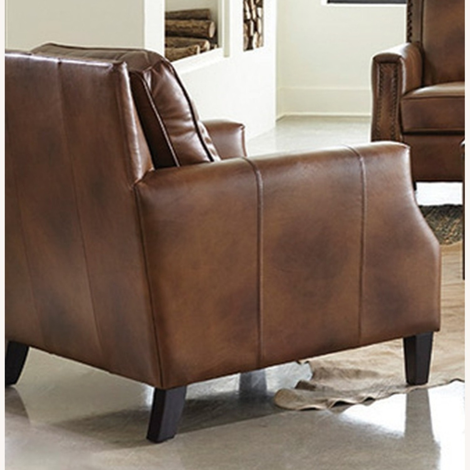 Chair In Brown Sugar Leather Upholstery - image-1