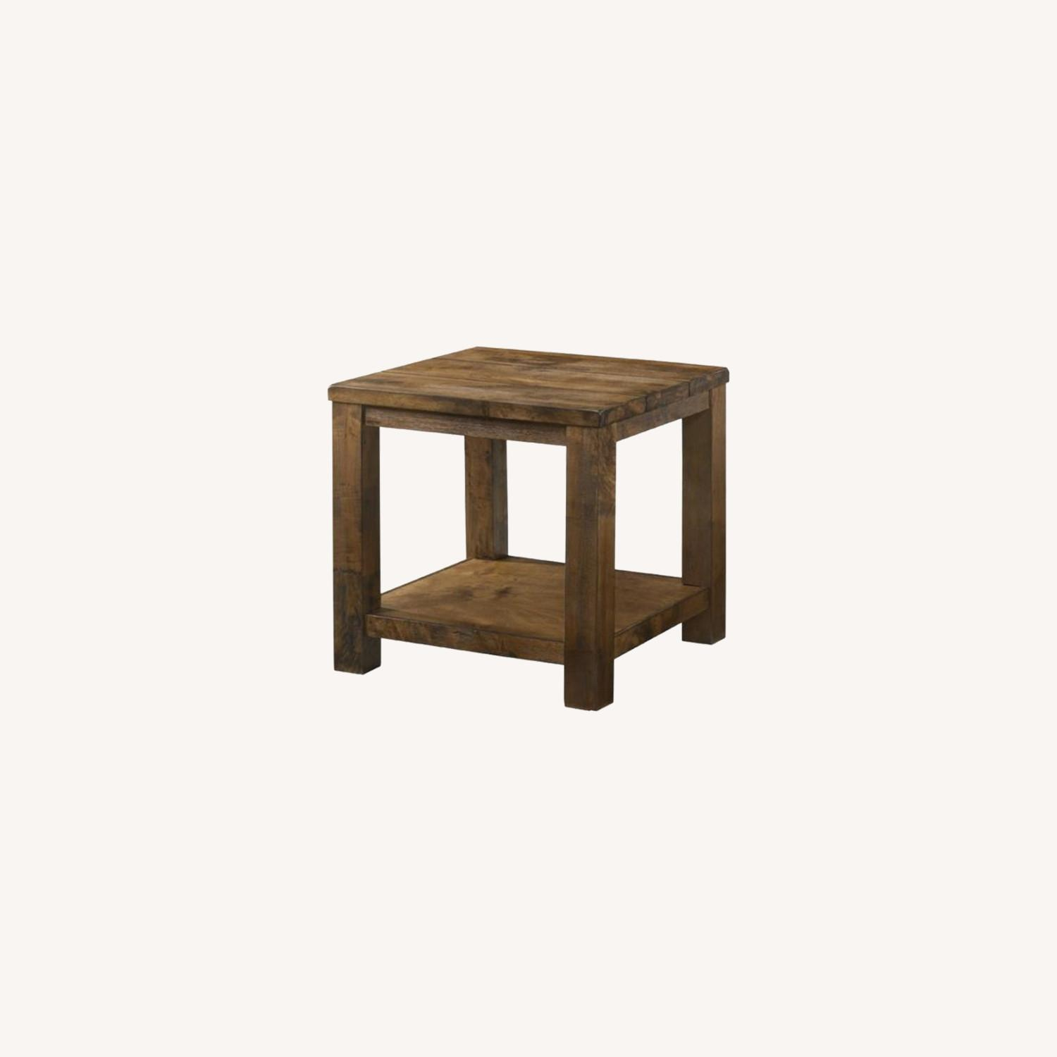 End Table In Rustic Golden Brown Wood - image-3