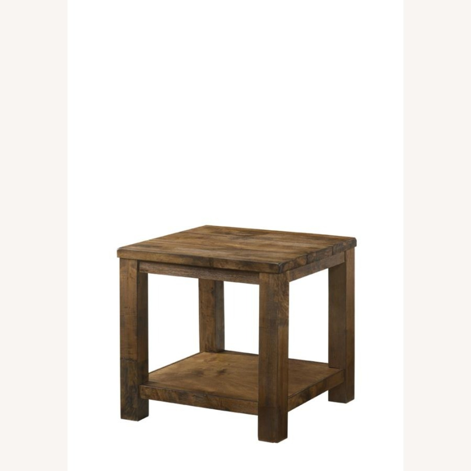 End Table In Rustic Golden Brown Wood - image-1