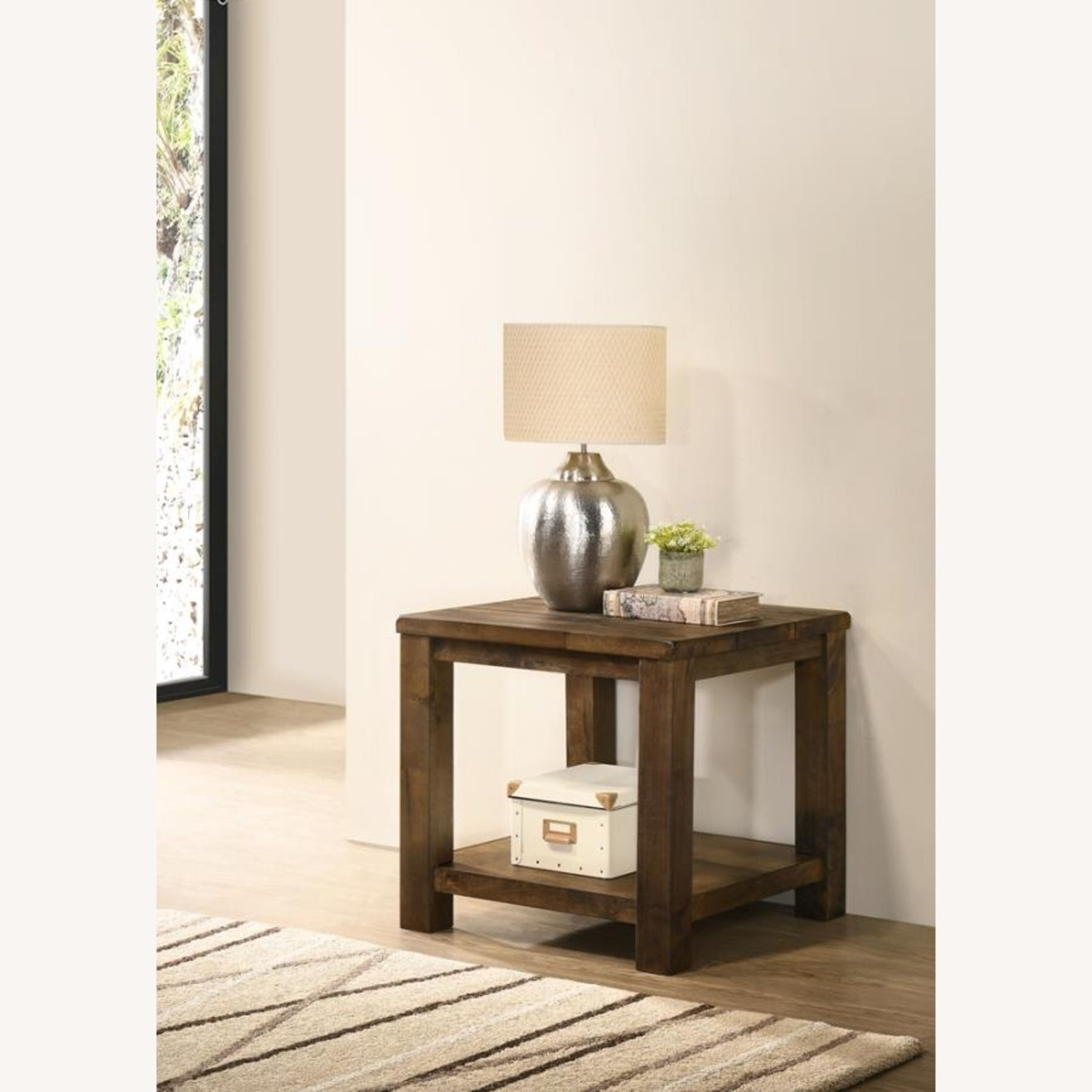 End Table In Rustic Golden Brown Wood - image-2
