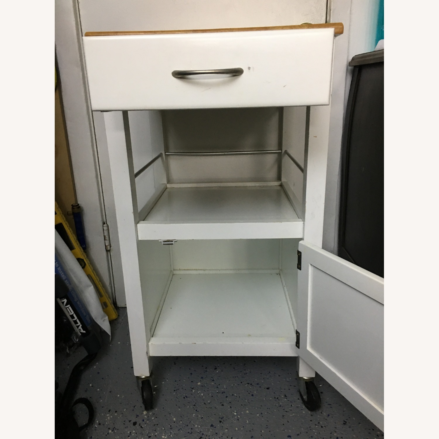 Compact Kitchen cart in White w/ Natural Wood Top - image-3