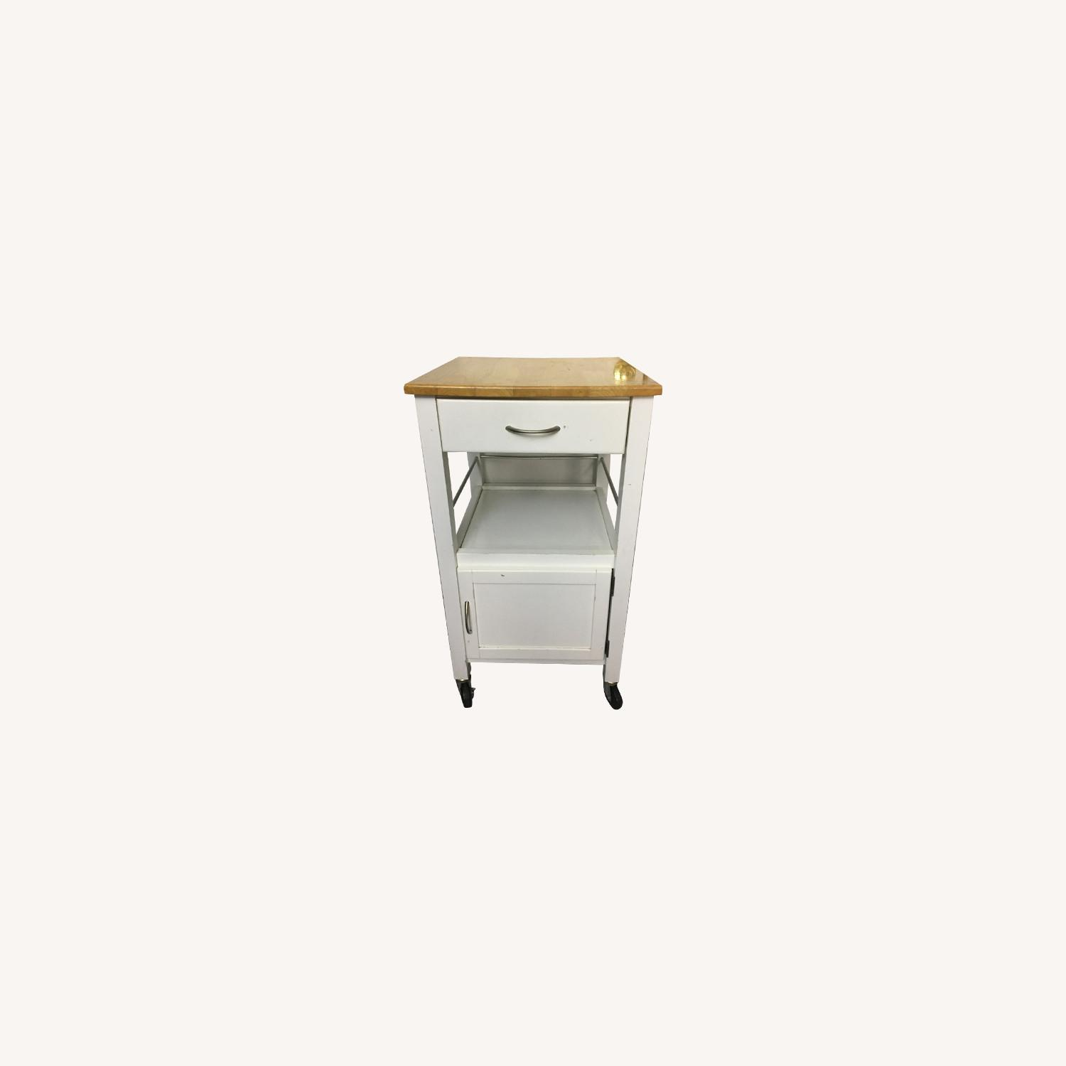 Compact Kitchen cart in White w/ Natural Wood Top - image-7