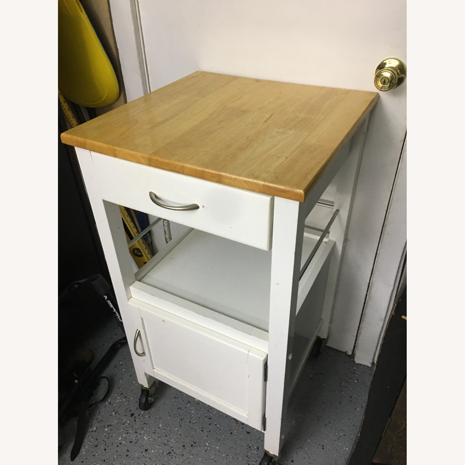 Compact Kitchen cart in White w/ Natural Wood Top - image-1