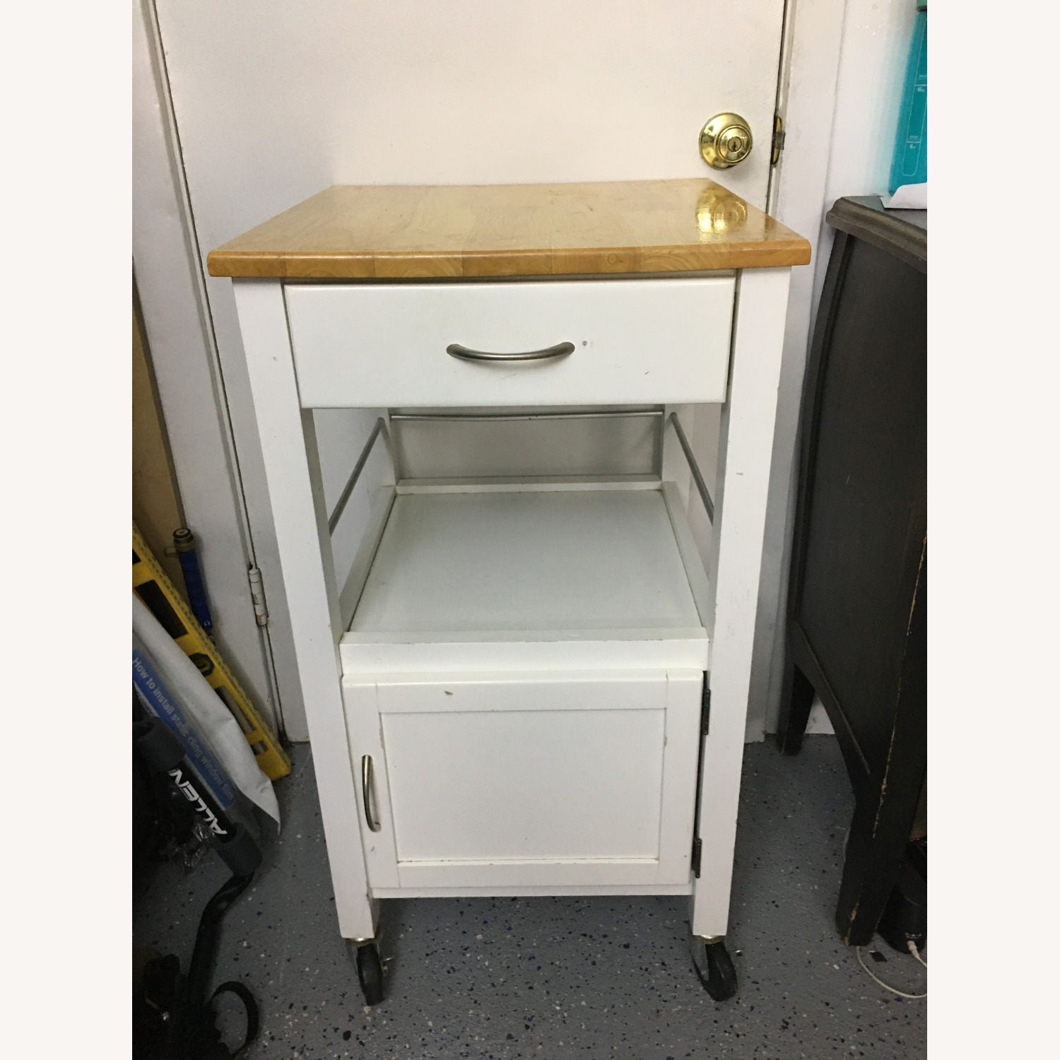 Compact Kitchen cart in White w/ Natural Wood Top - image-5