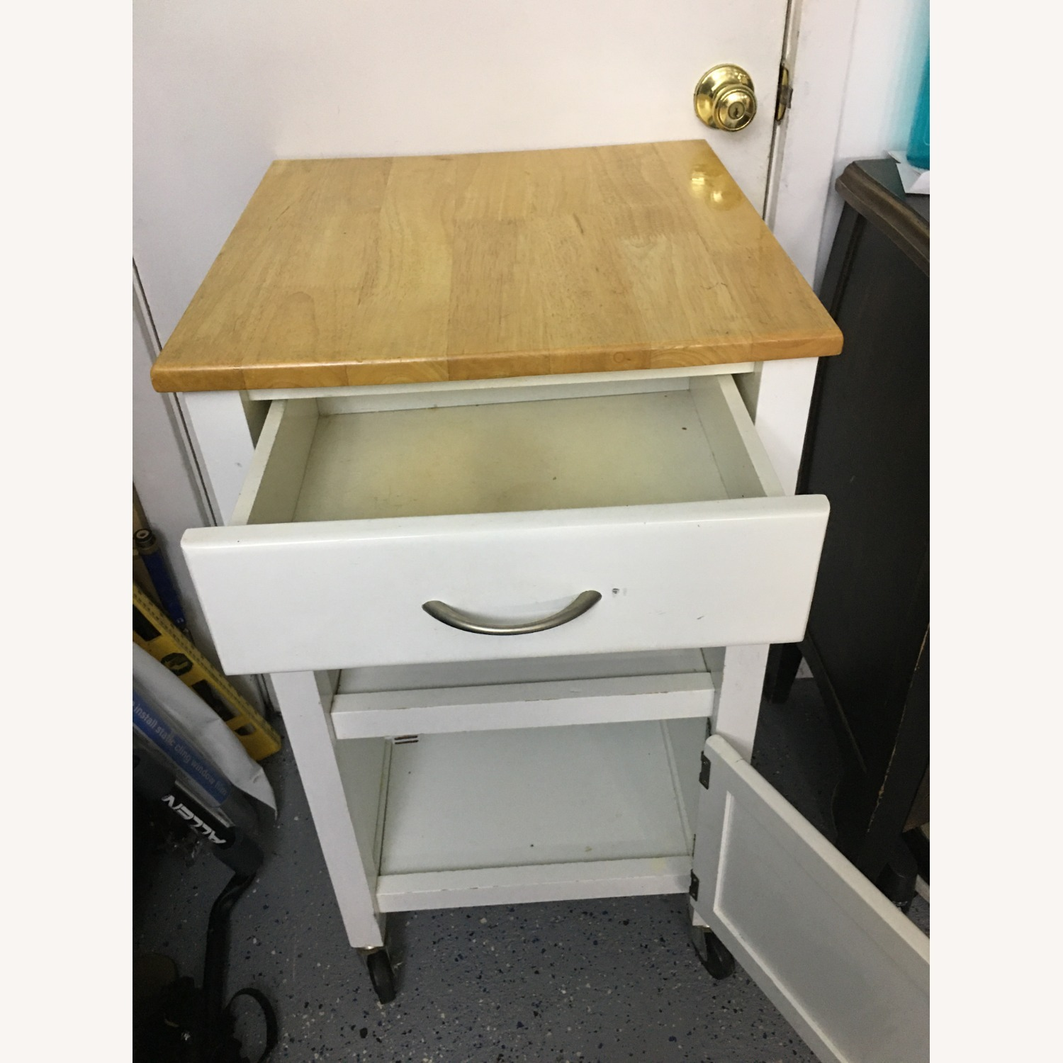 Compact Kitchen cart in White w/ Natural Wood Top - image-2