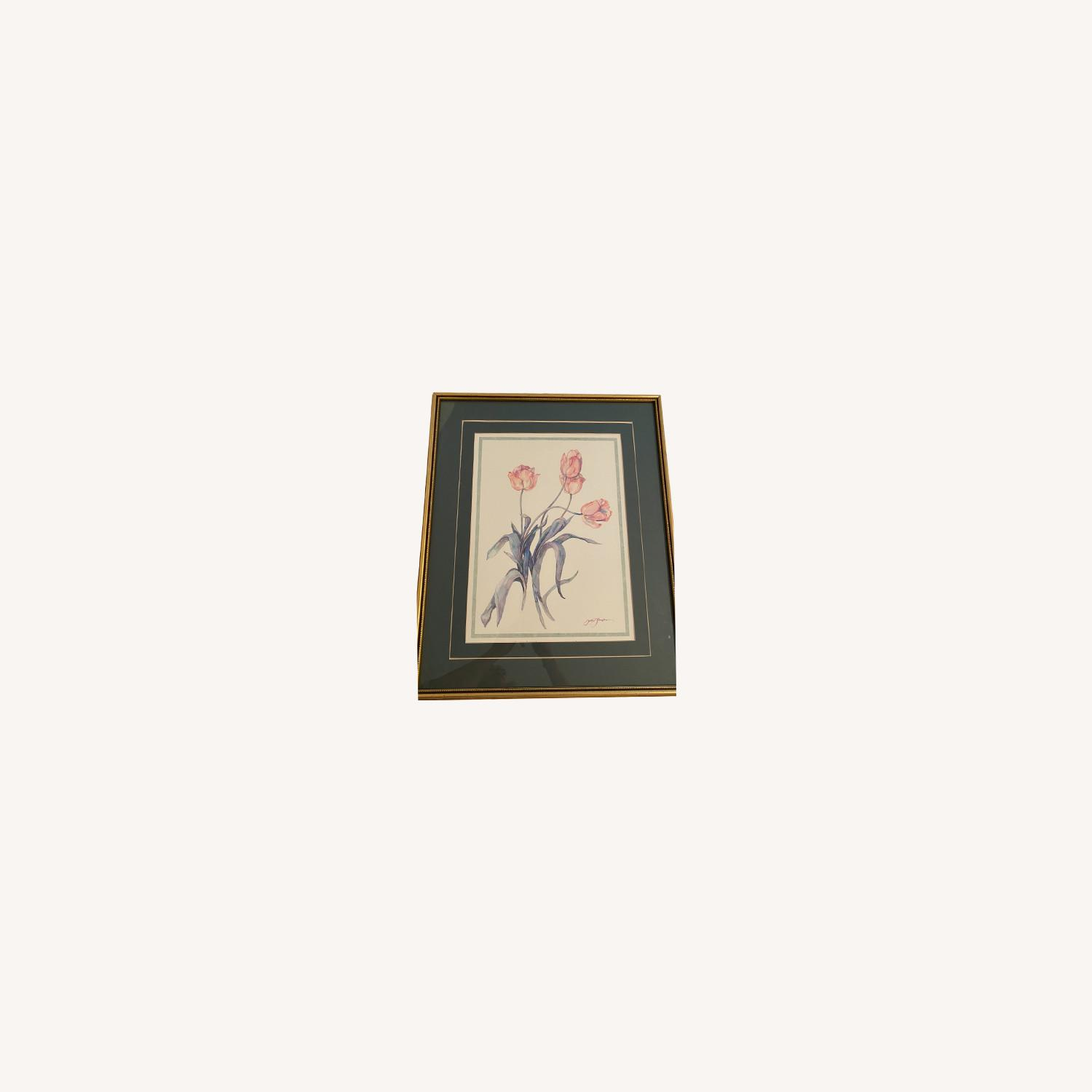 Tulips Watercolor Print in Gold Frame - image-4