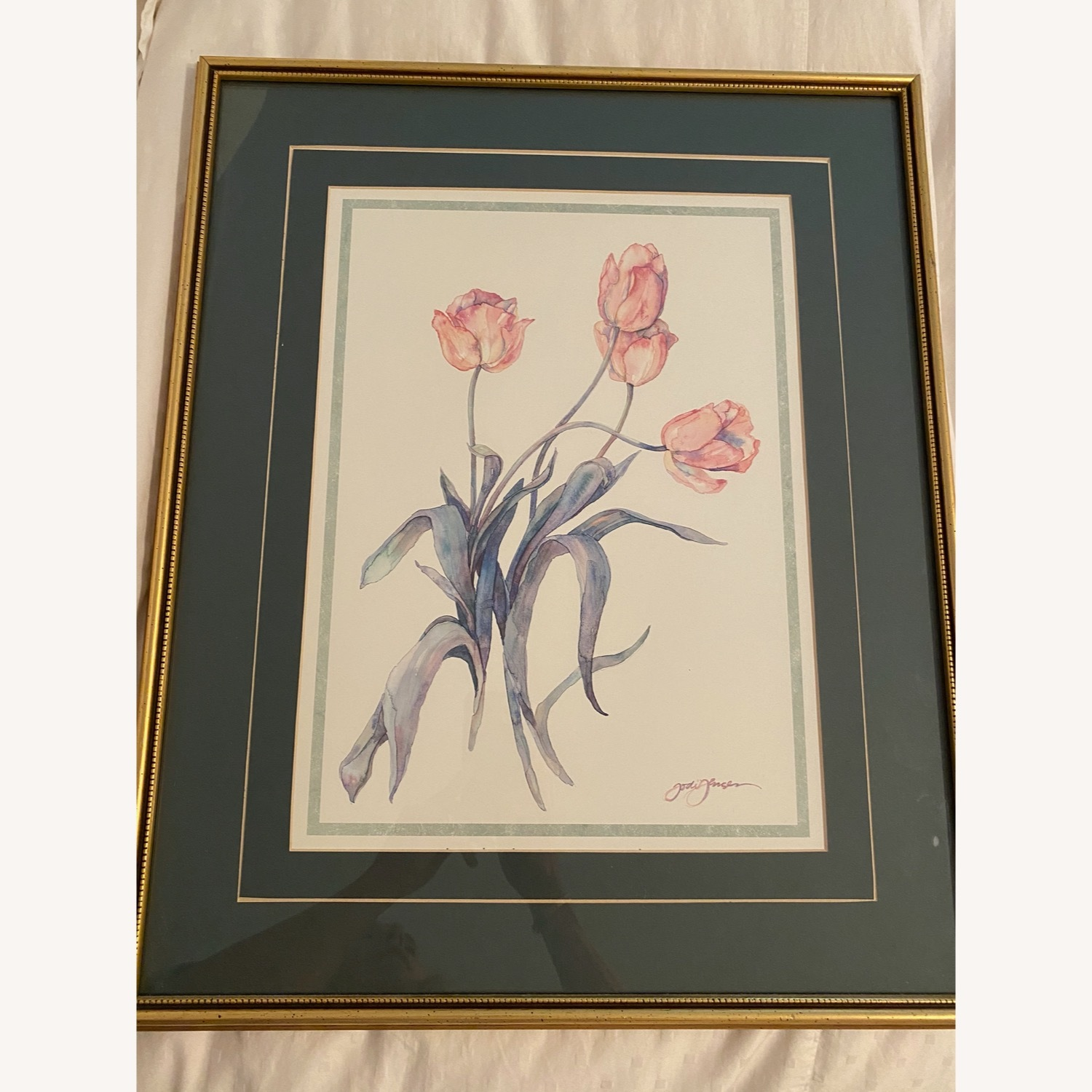 Tulips Watercolor Print in Gold Frame - image-0