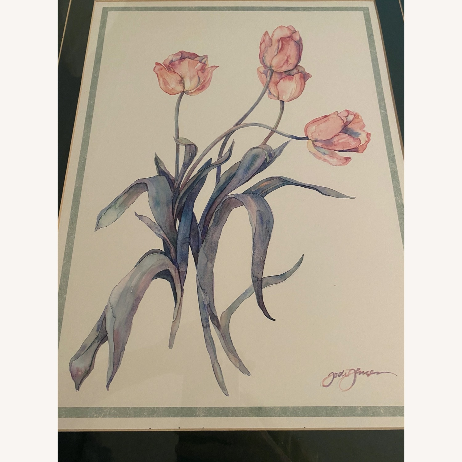 Tulips Watercolor Print in Gold Frame - image-1