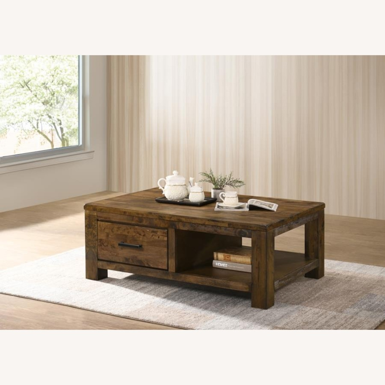 Coffee Table W/ Drawer In Brown Sugar Finish  - image-2