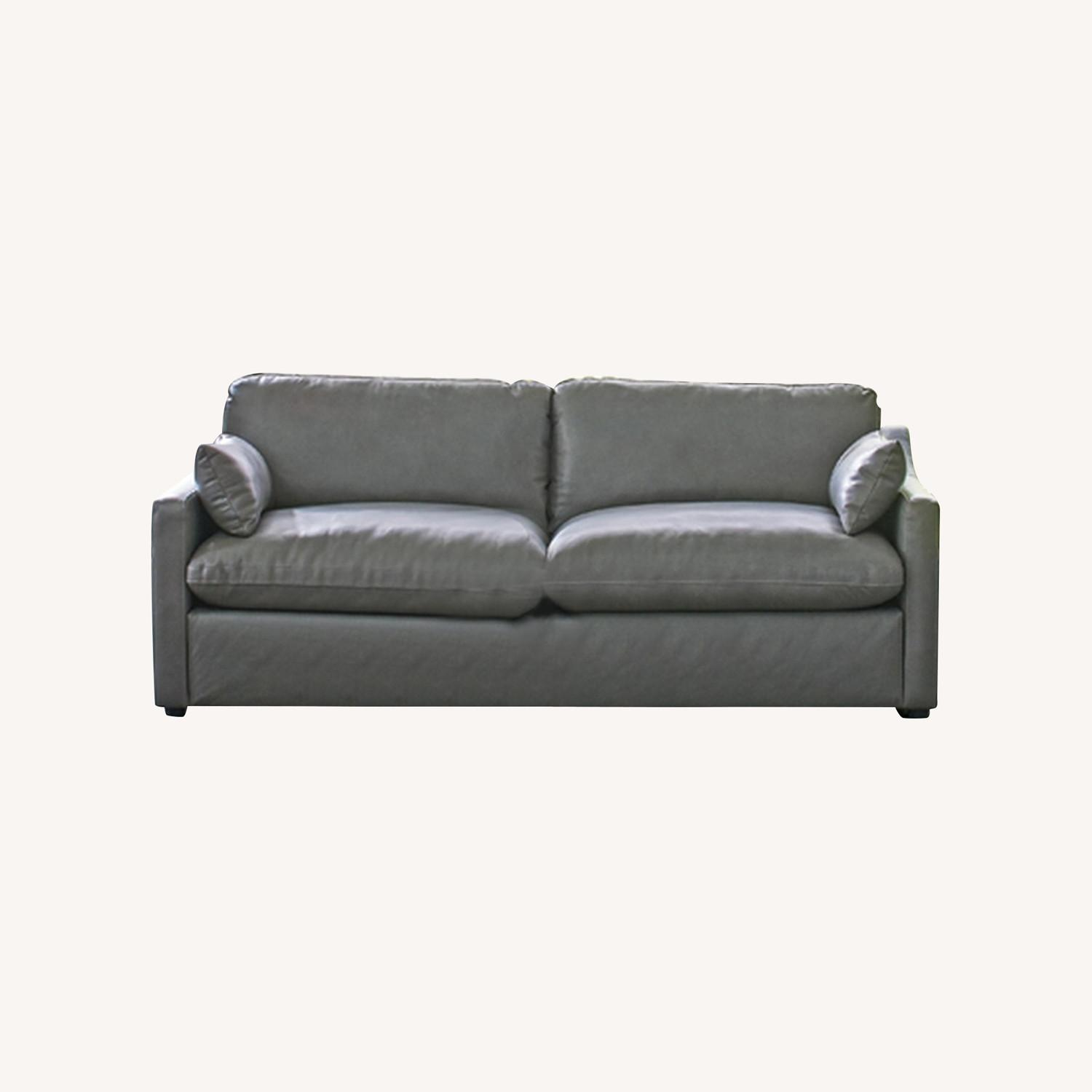 Sofa W/ Pillow-Like Seating In Grey Leather Finish - image-3