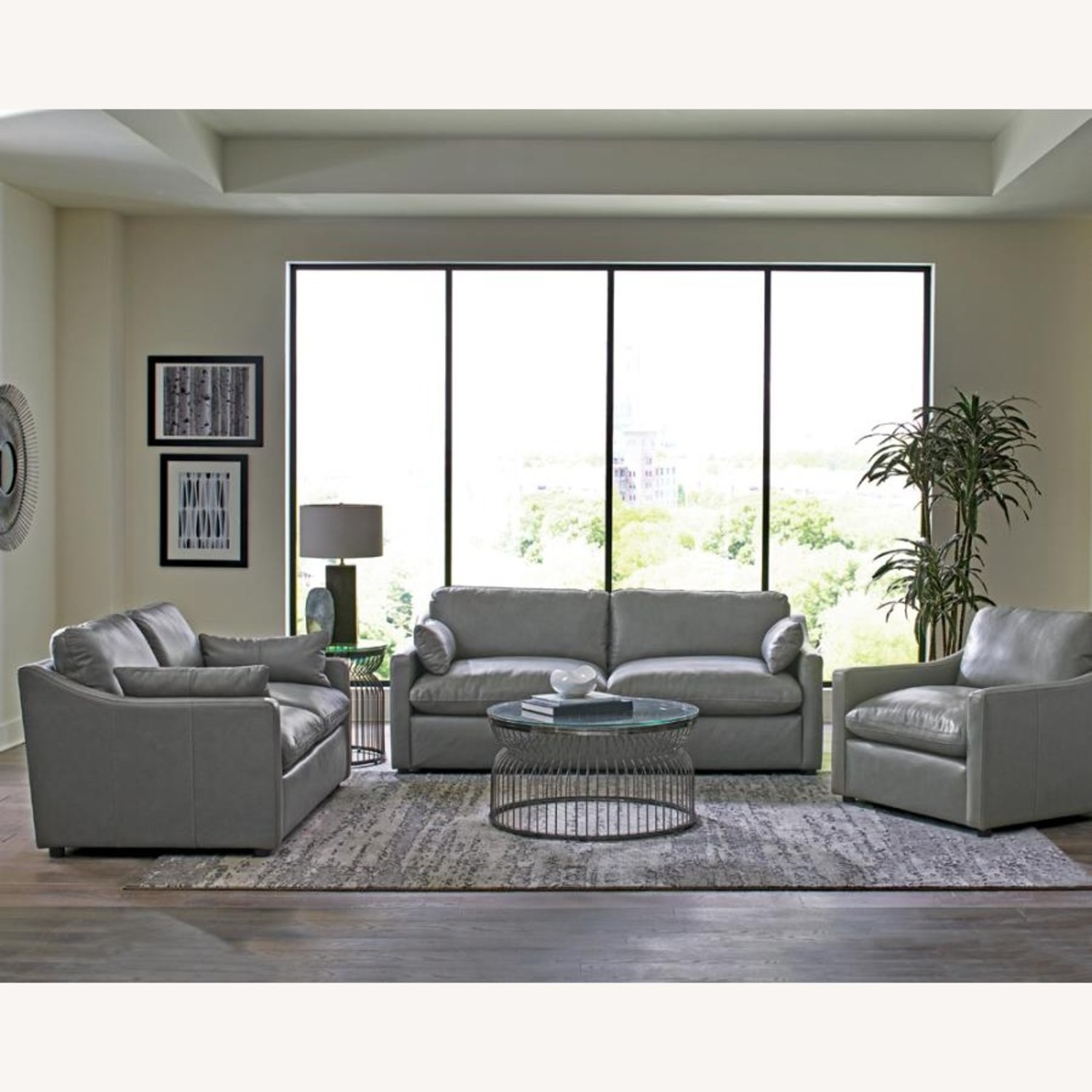 Sofa W/ Pillow-Like Seating In Grey Leather Finish - image-2