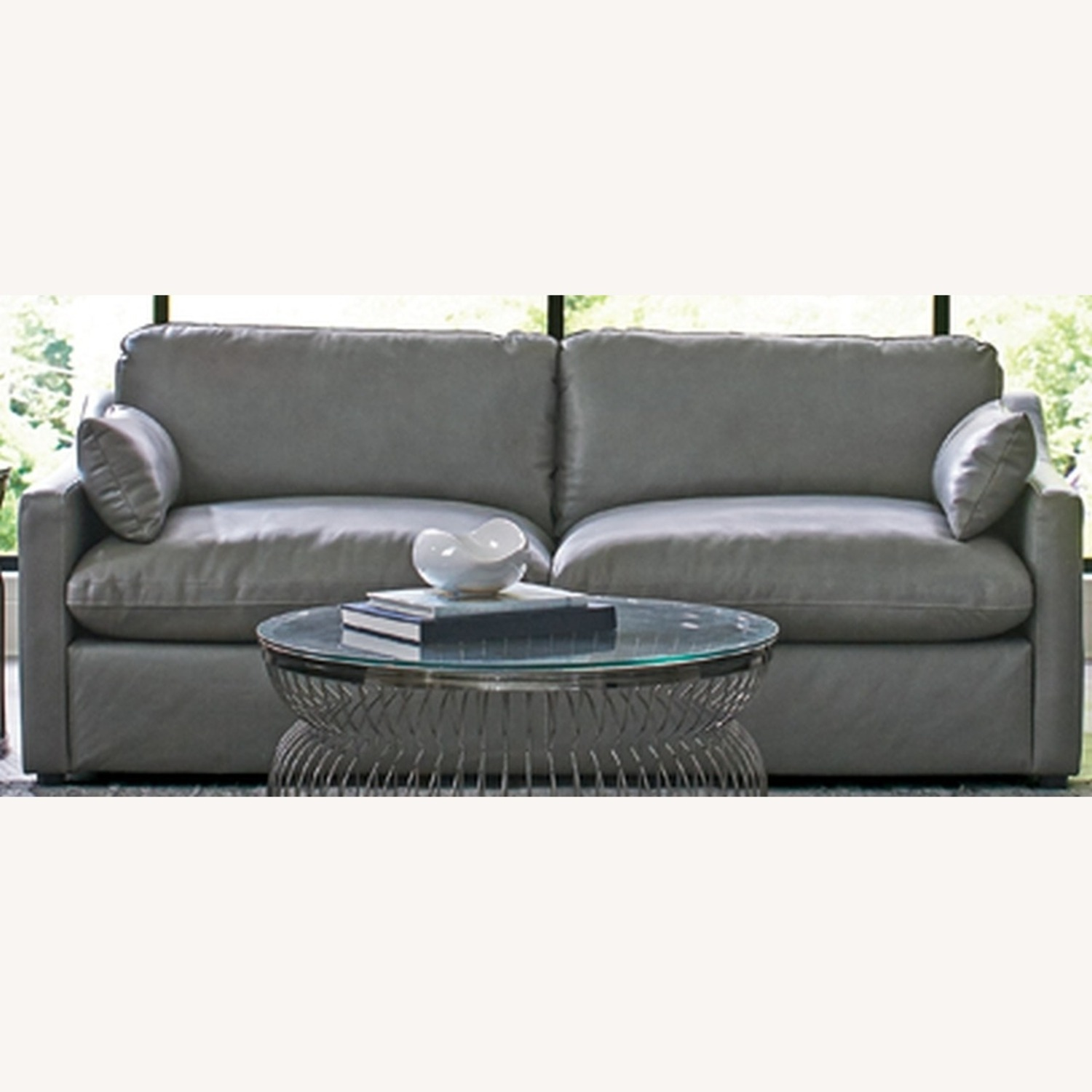 Sofa W/ Pillow-Like Seating In Grey Leather Finish - image-1