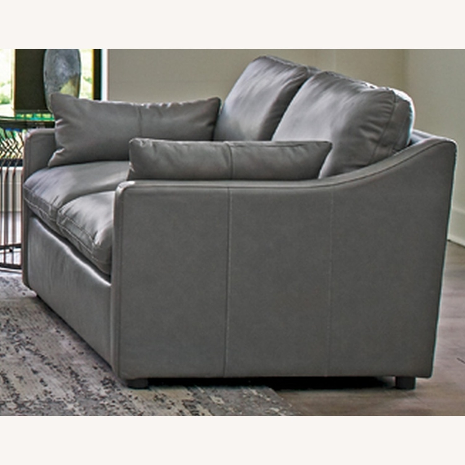Loveseat In Grey Leatherette Upholstery - image-1
