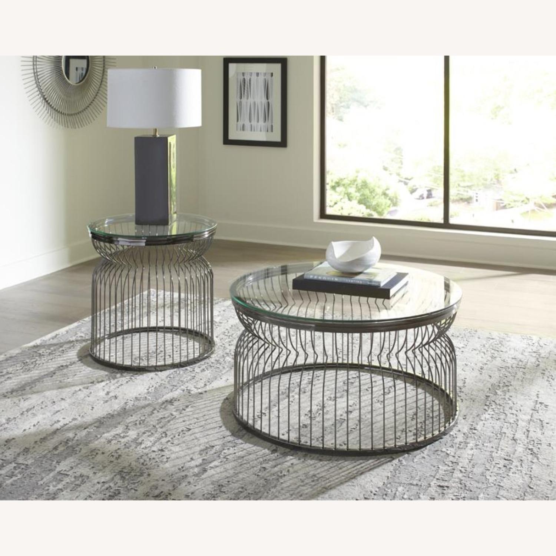 End Table W/ Sculptural Base Black Nickel Finish - image-2