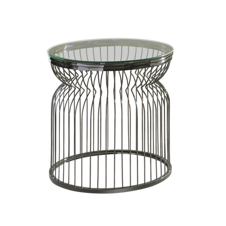 End Table W/ Sculptural Base Black Nickel Finish - image-0