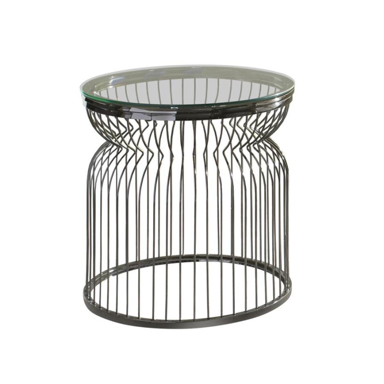 End Table W/ Sculptural Base Black Nickel Finish - image-1