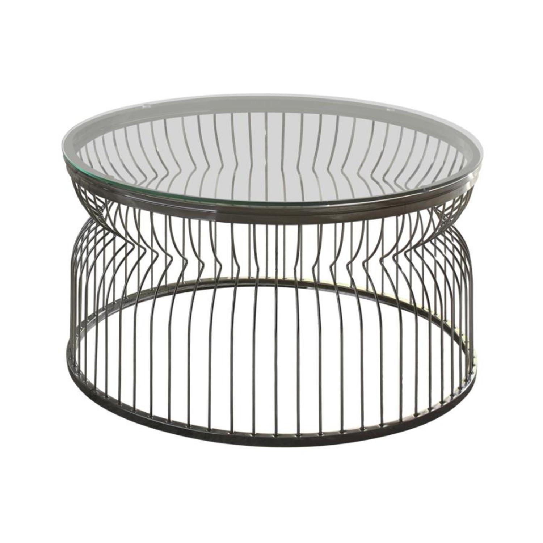 Modern Coffee Table In Black Nickel Finish - image-1