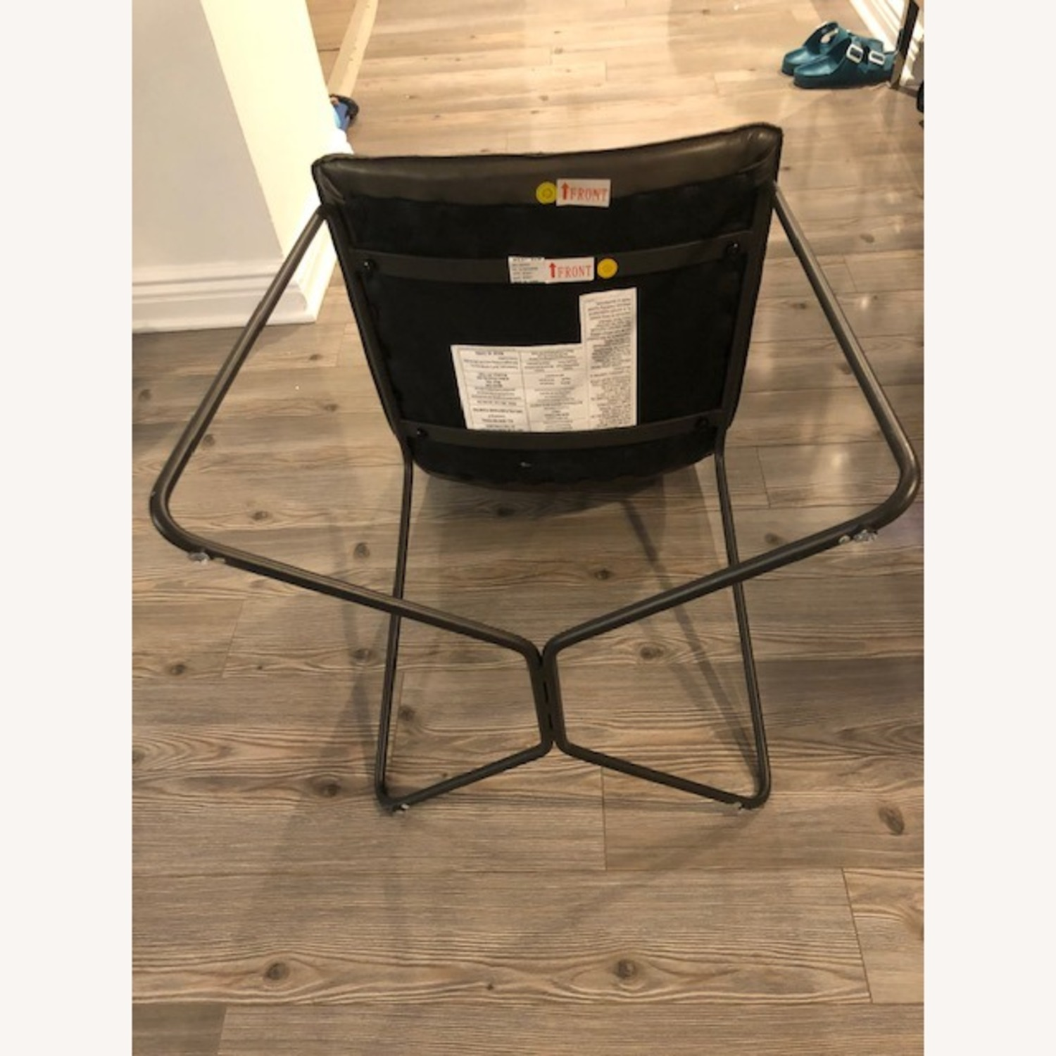 West Elm Slope Leather Charcoal Chair - image-3