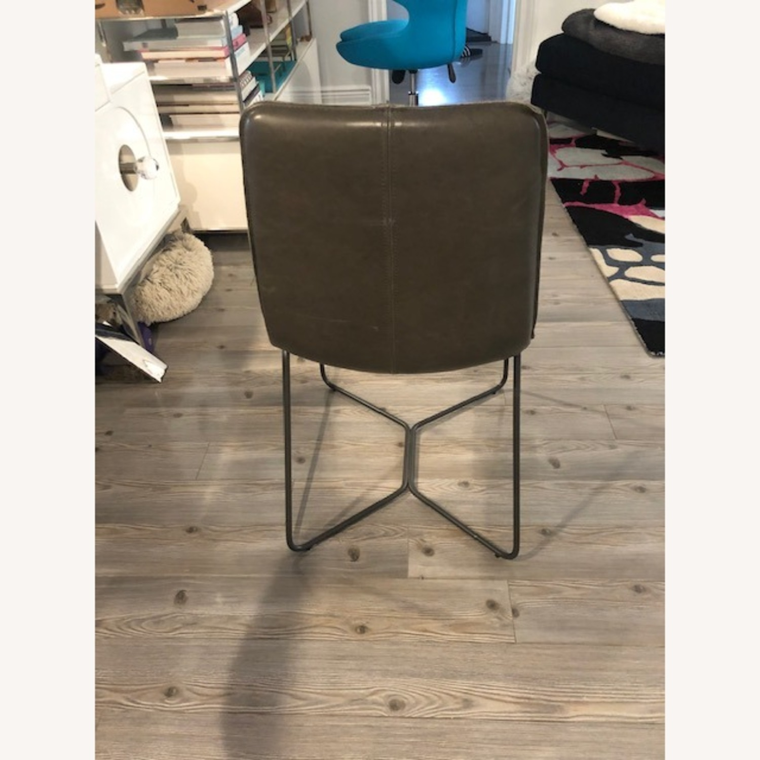 West Elm Slope Leather Charcoal Chair - image-2