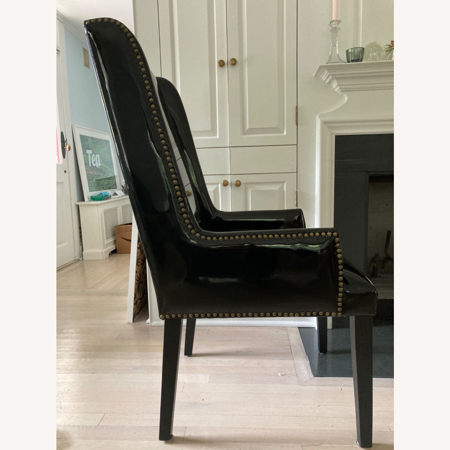 CB2 Reynolds Black Patent Leather Wing Back Chair - image-3