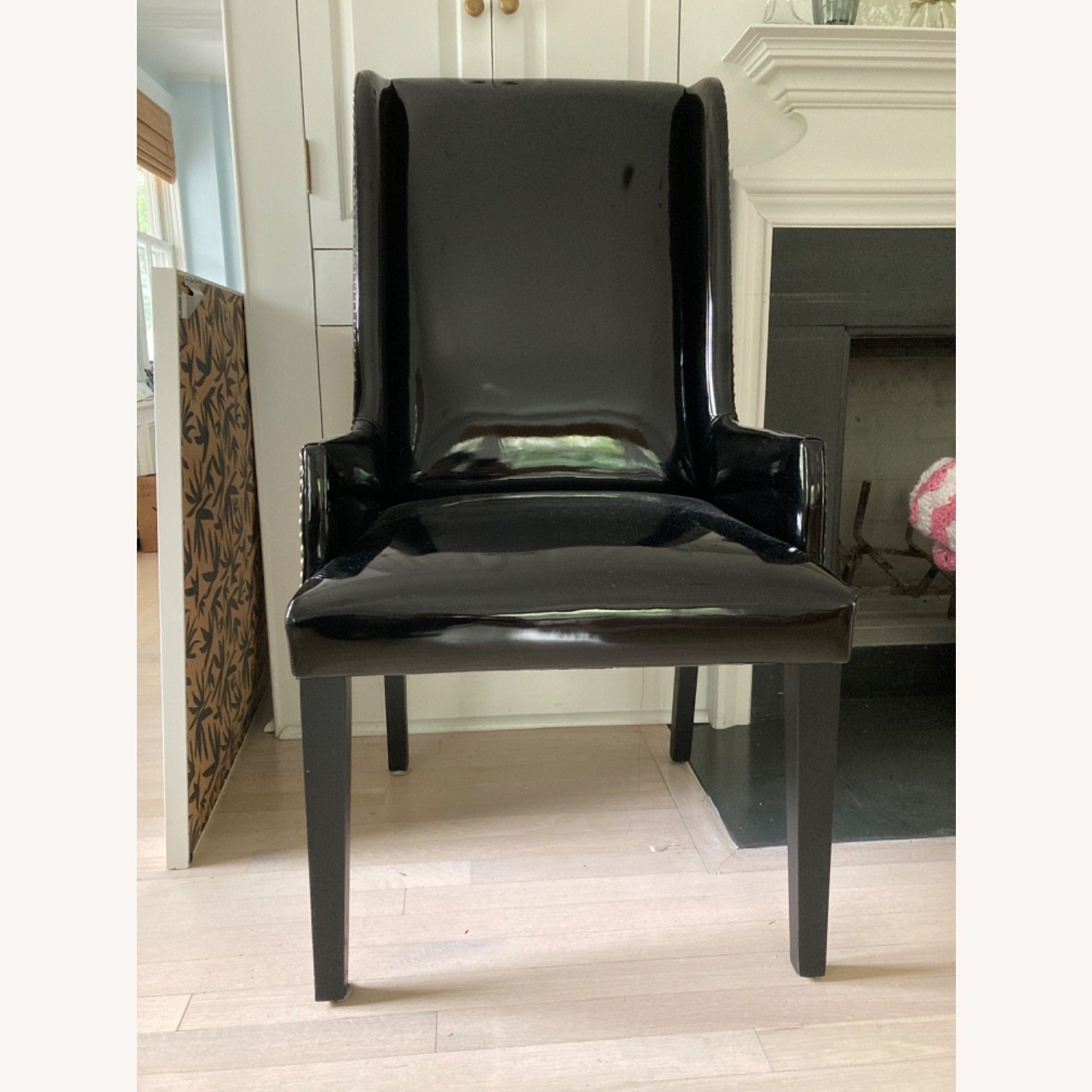 CB2 Reynolds Black Patent Leather Wing Back Chair - image-2