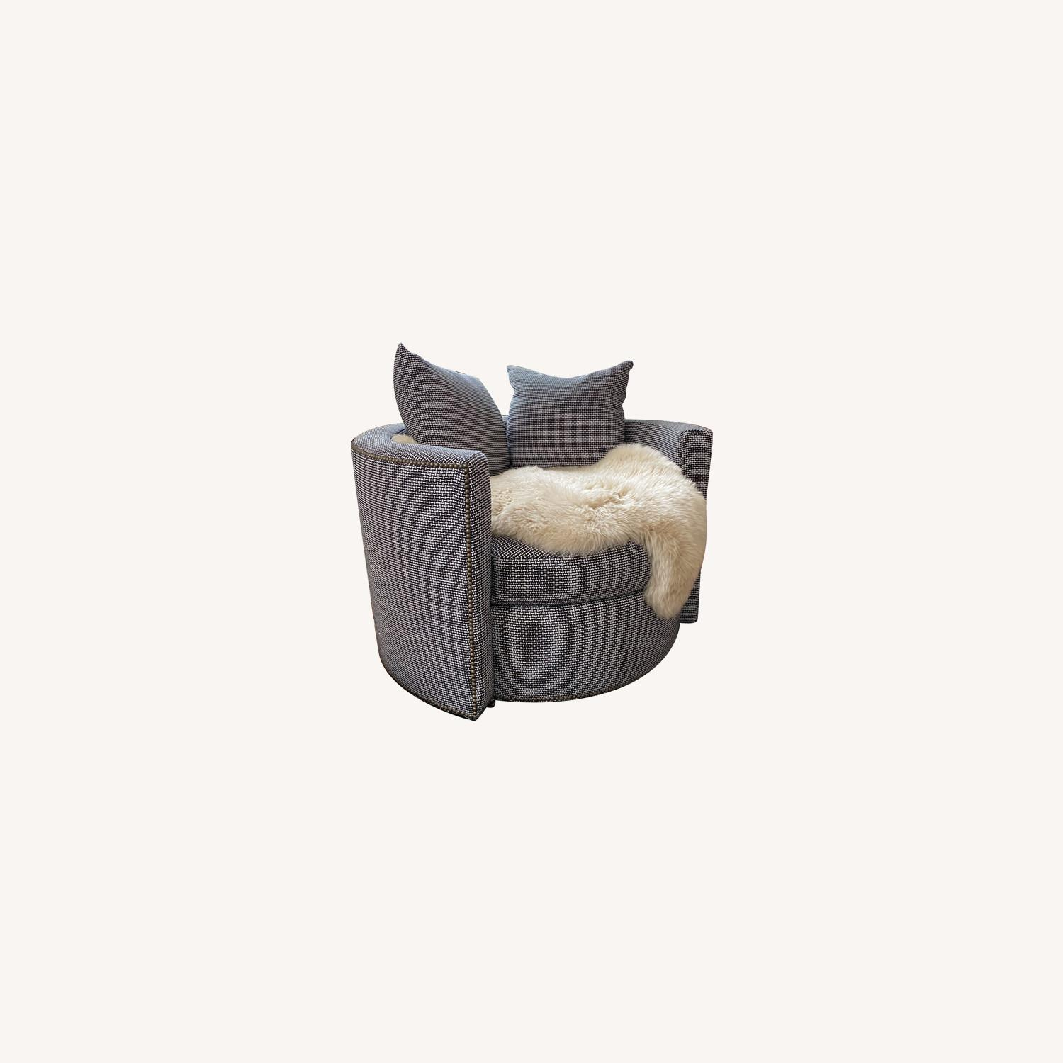 Black and White Check Swivel Arm Chair - image-0