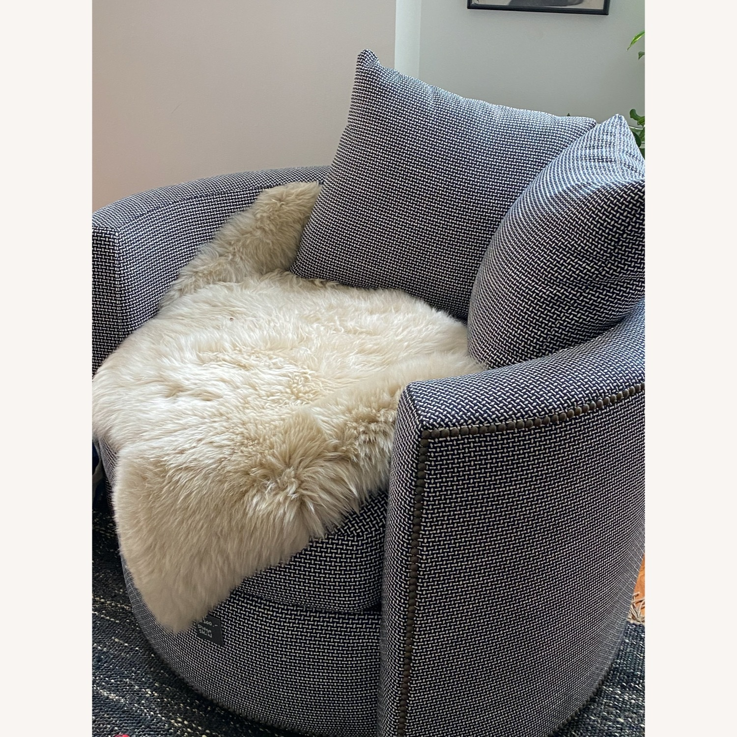 Black and White Check Swivel Arm Chair - image-3