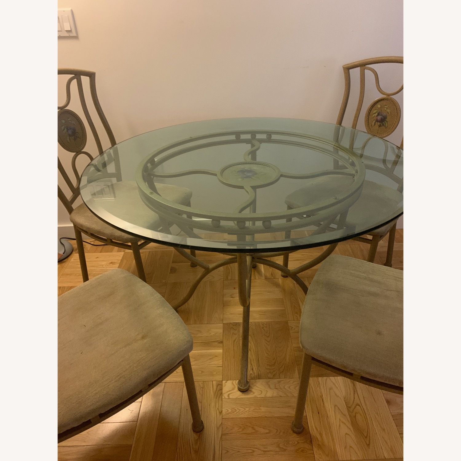 Vintage Glass Dining Room Table and Chair Set - image-1