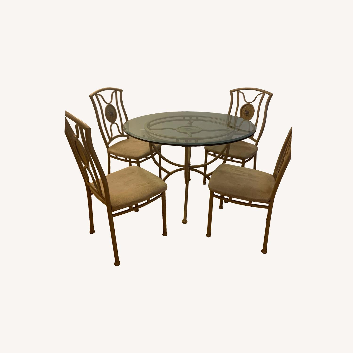 Vintage Glass Dining Room Table and Chair Set - image-0