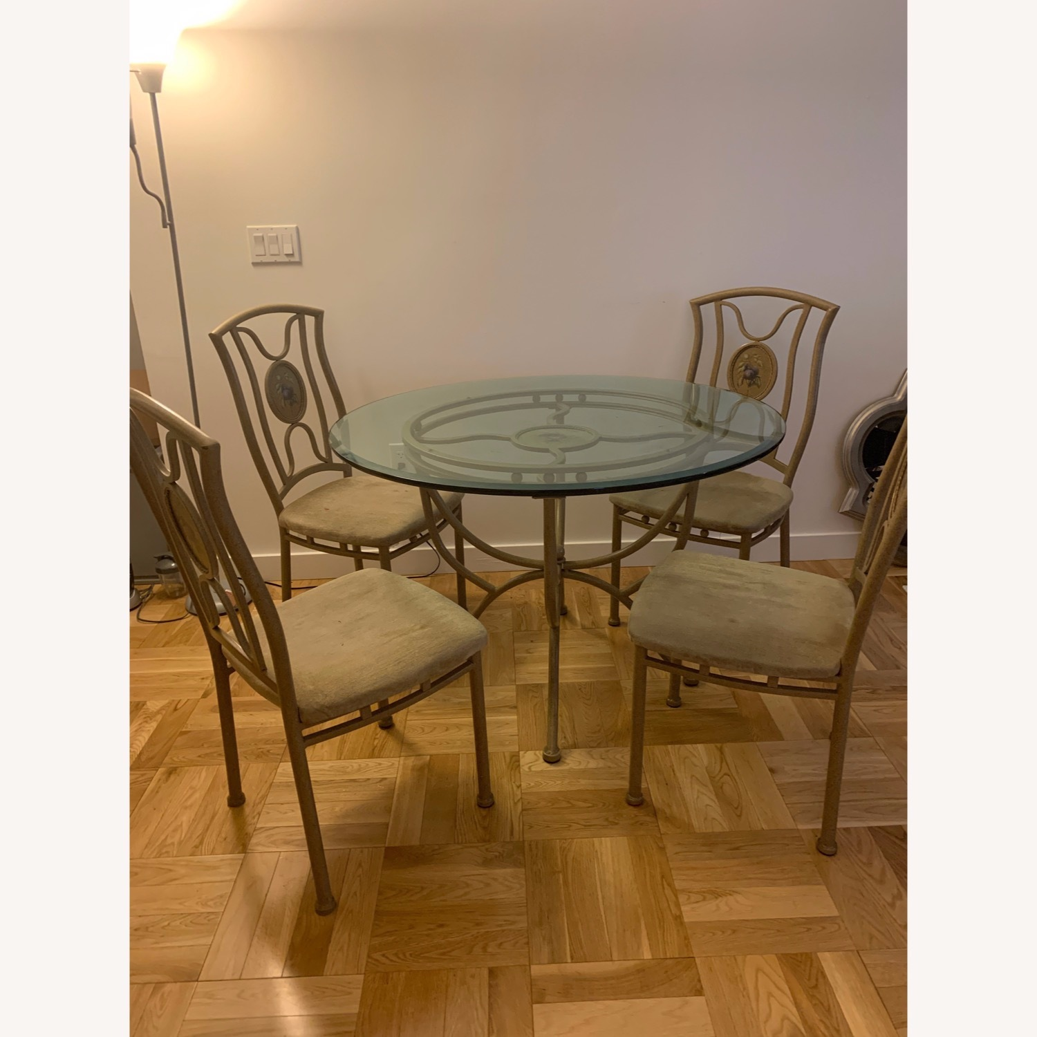 Vintage Glass Dining Room Table and Chair Set - image-5