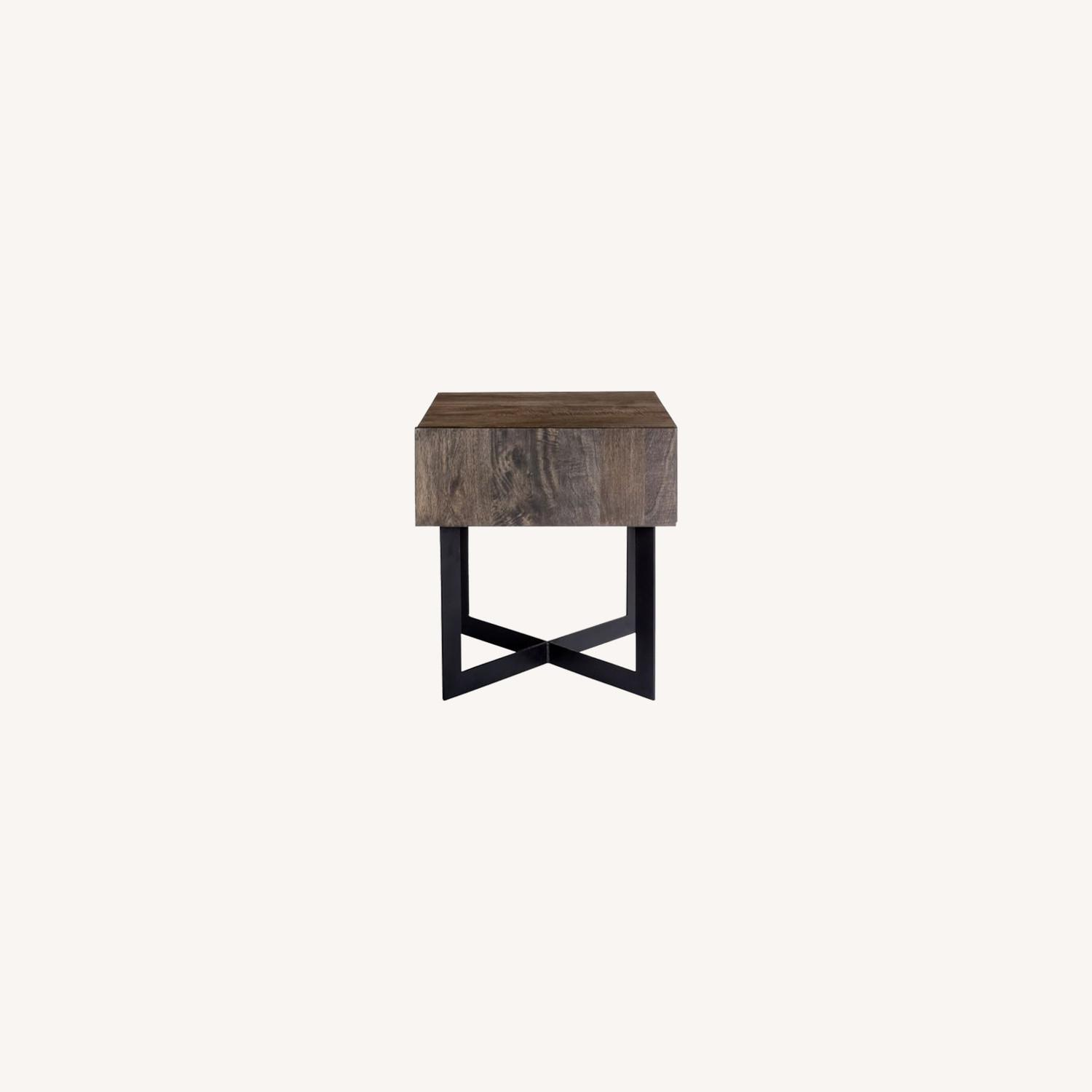 West Elm Modern Solid Wood + Iron Side Table - image-0