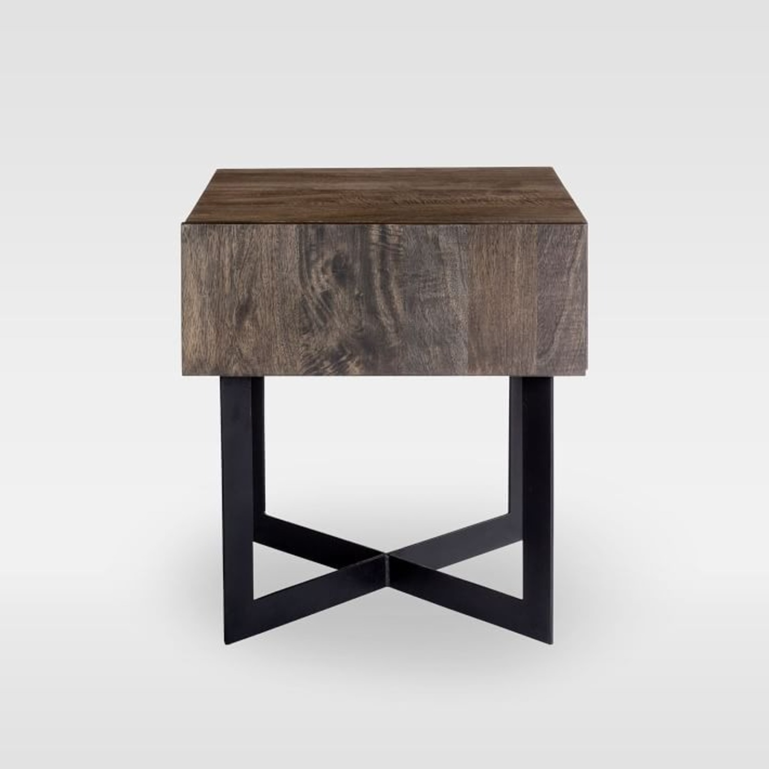 West Elm Modern Solid Wood + Iron Side Table - image-2
