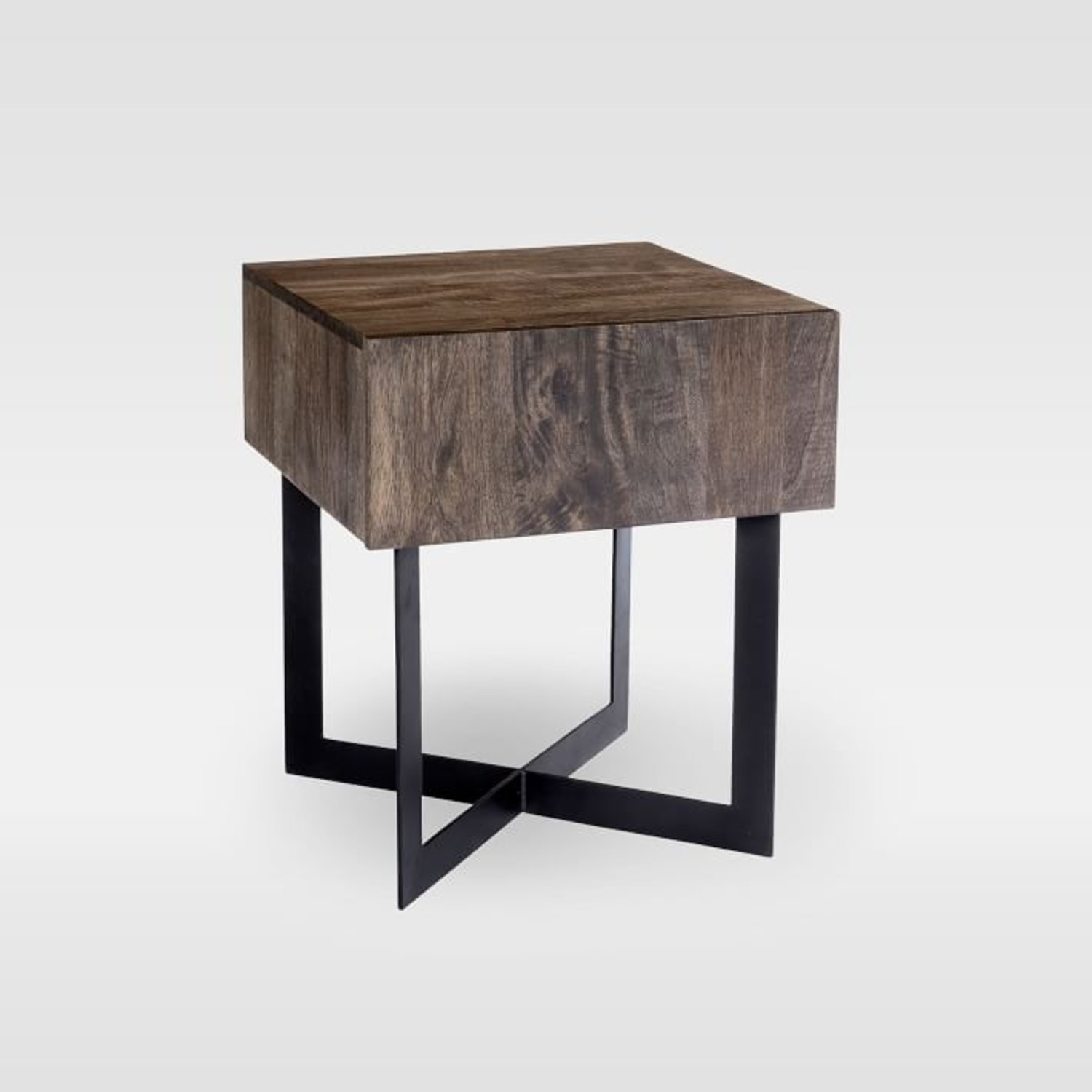 West Elm Modern Solid Wood + Iron Side Table - image-1