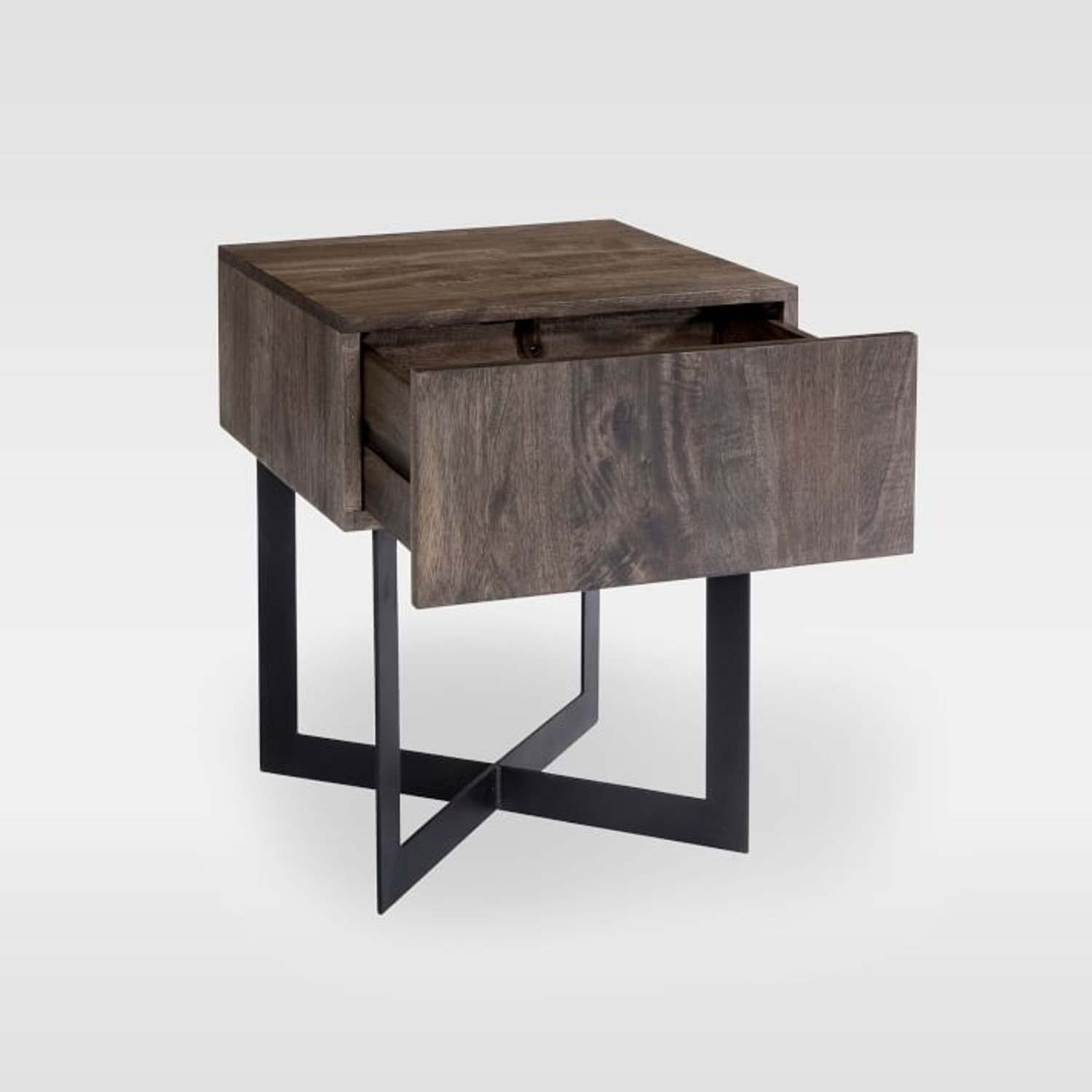 West Elm Modern Solid Wood + Iron Side Table - image-3