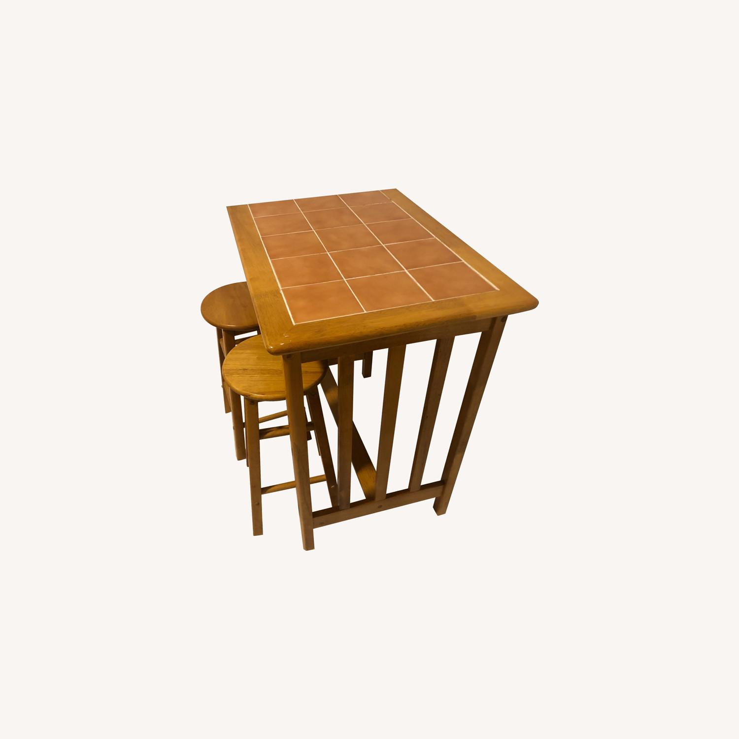 Maple and Tile Bar with Barstools - image-0