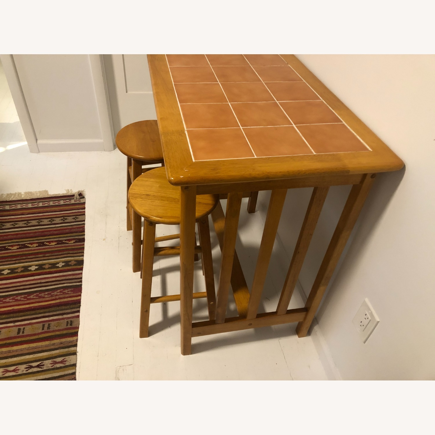 Maple and Tile Bar with Barstools - image-2