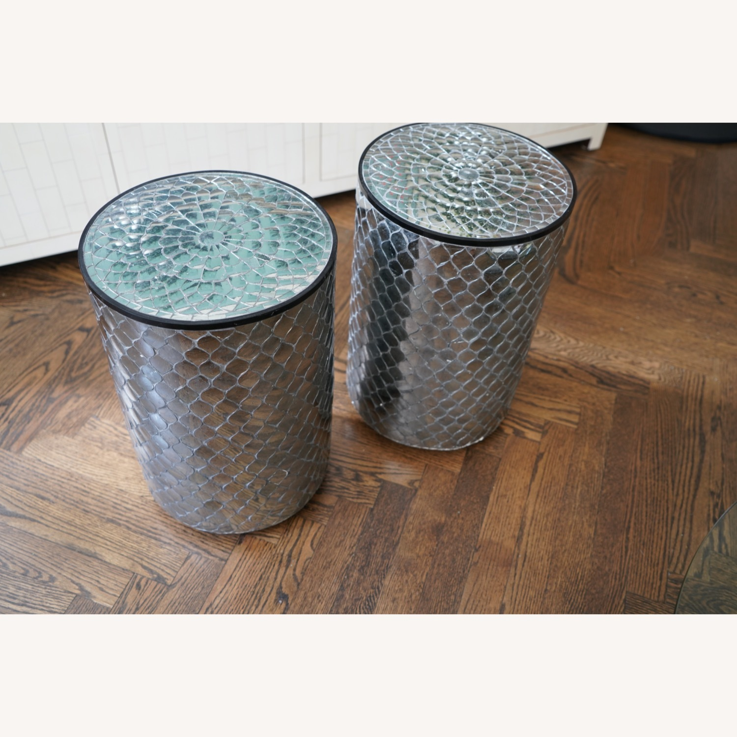 Moroccan Style Mirrored Stools Set of 2 - image-3