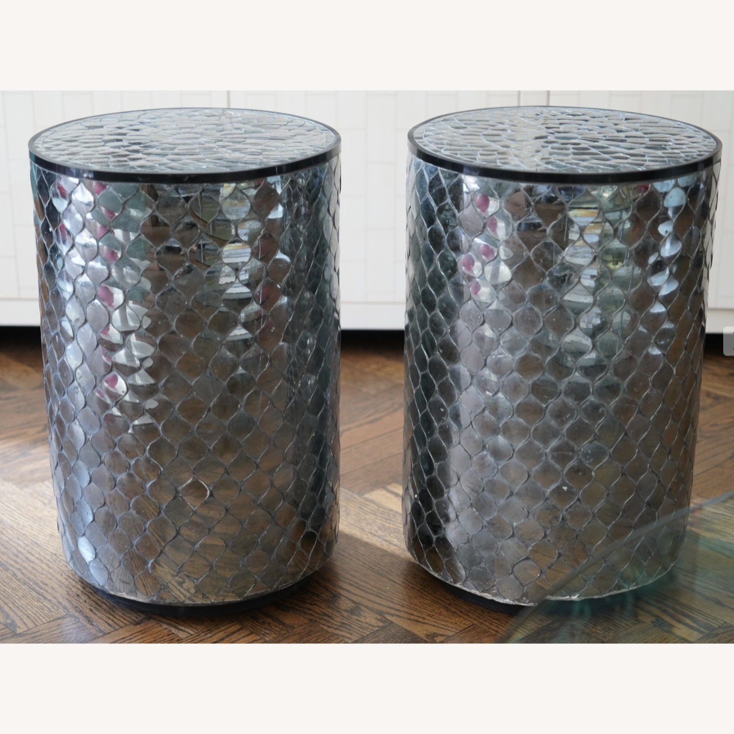 Moroccan Style Mirrored Stools Set of 2 - image-1