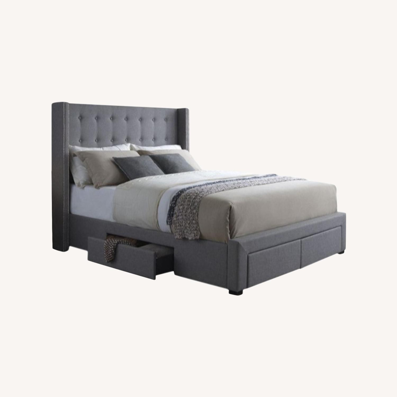 Wayfair Gray Tufted Storage Platform Bed (Queen) - image-0