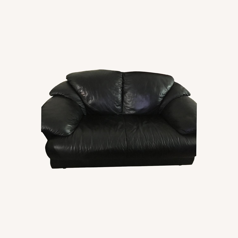 Natuzzi Black Leather Loveseat - image-0